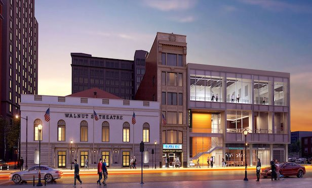 A rendering of an expanded Walnut Street Theatre in Philadelphia.