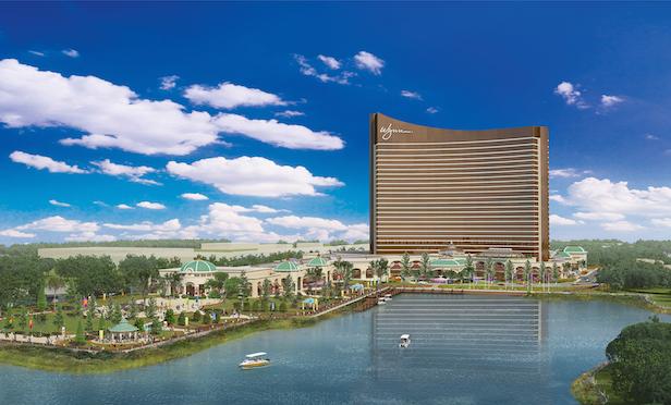 A rendering of the $2.6-billion Encore Boston Harbor casino resort that will open in June in Everett, MA.
