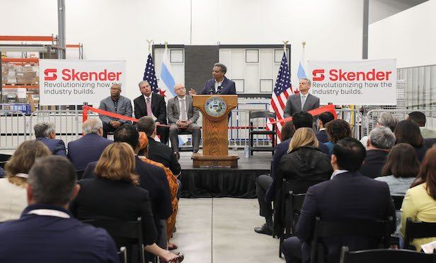 Chicago Mayor Lori Lightfoot speaks at the ribbon-cutting event at the Skender manufacturing facility.