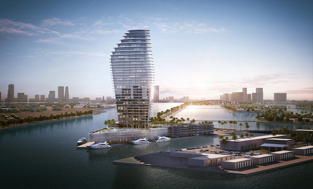 A rendering of the 90-unit One Island Park development in Miami Beach, FL.