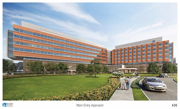 A rendering of the new seven-story, 362-bed new Valley Hospital in Paramus, NJ.