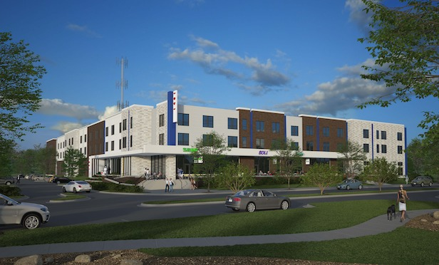 A rendering of The Opus Group's student housing project near the University of Kansas.