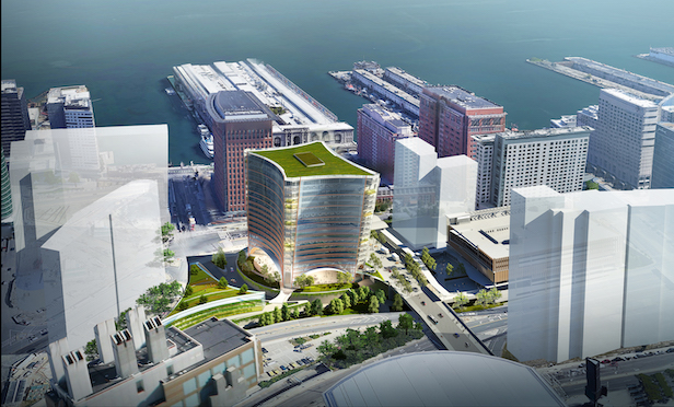 A rendering of the 401 Congress St. office building to be built at Massport's A-2 parcel in the South Boston waterfront.