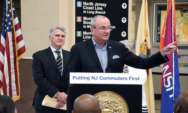 New Jersey Gov. Phil Murphy and NJ TRANSIT President and CEO Kevin Corbett (left) at a press conference earlier this year.