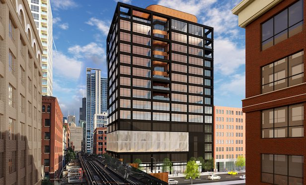 A rendering of 301 W. Huron, a planned 162,000-square-foot office building.