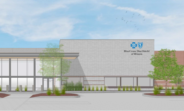 A rendering of Blue Cross and Blue Shield's offices at the Marshfield Plaza Building on Chicago's South Side.