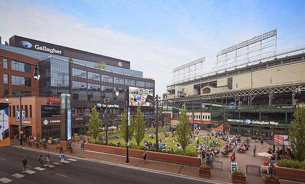 A rendering of Gallagher Way in the Wrigleyville neighborhood. of Chicago.