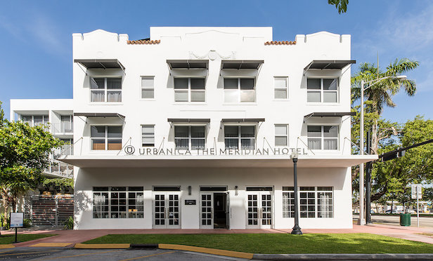 The Meridian, a reimagined historic 1930s Art Deco hotel is located at 418 Meridian Ave. in Miami Beach.