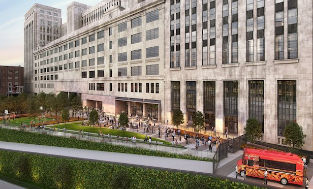 Rendering of the Northeast Plaza of the Old Main Post Office. Credit: Gensler