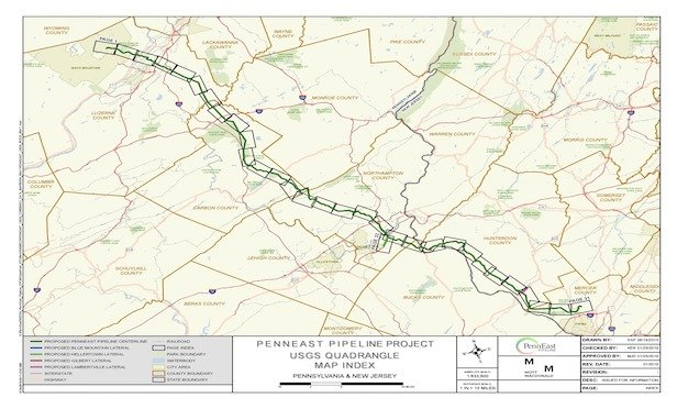 The proposed route of the PennEast Pipeline project.
