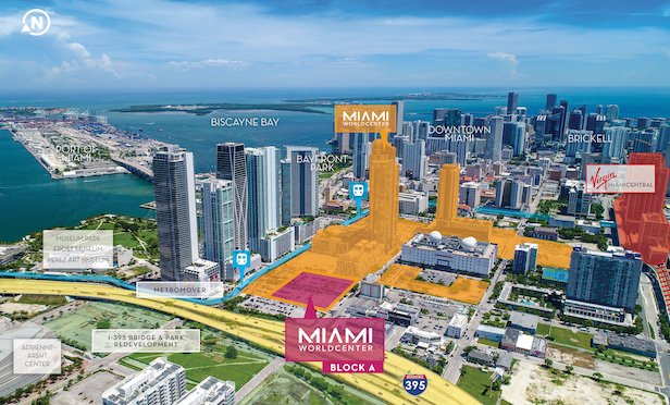 An aerial rendering of the Miami Worldcenter project in Downtown Miami.
