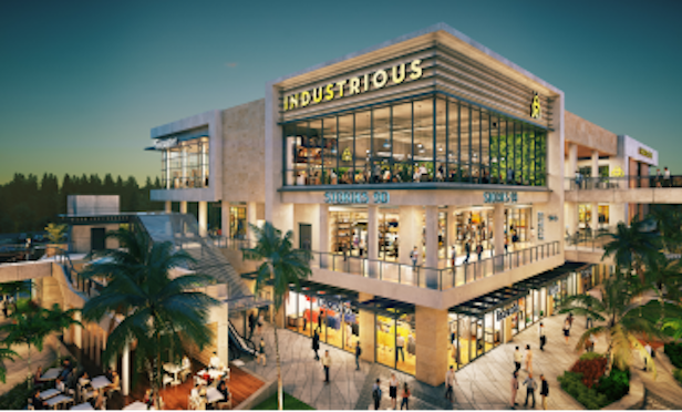 A rendering of the Industrious location at the Esplanade at Aventura open-air shopping center.