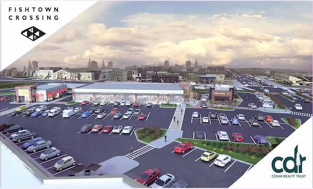 A rendering of the redeveloped Fishtown Crossing shopping center in Northeast Philadelphia.