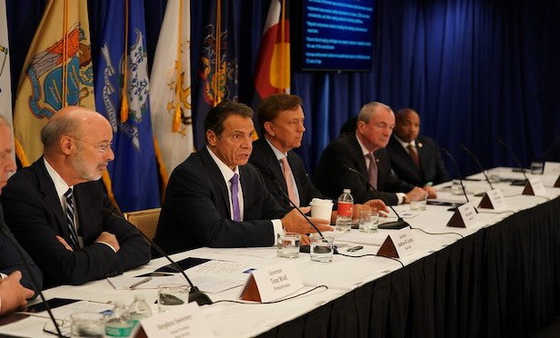 From left, Pennsylvania Gov. Tom Wolf, New York Gov. Andrew Cuomo, Connecticut Gov. Ned Lamont and New Jersey Gov. Phil Murphy