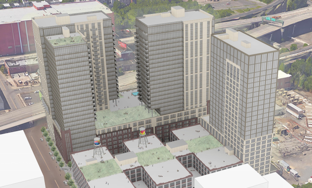 A rendering of Emerson Lofts, a multi-phased 1,000-unit mixed-use project in Jersey City, NJ.