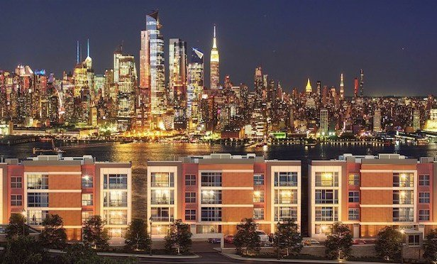 Rendering of Hoboken Heights with the Manhattan skyline in the background.