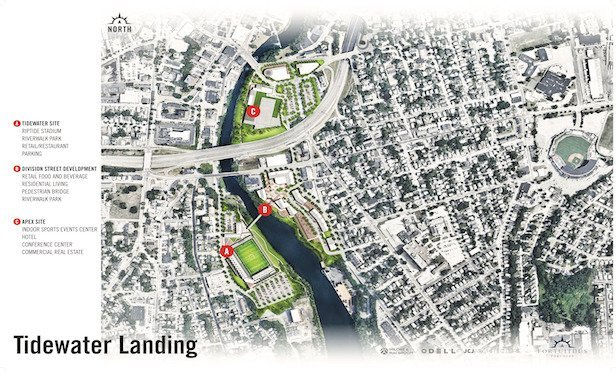 A map of the Tidewater Landing project on the Pawtucket waterfront.