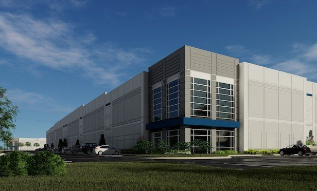 A rendering of one of the new logistics buildings to be built by CT Realty in the Rickenbacker Industrial Park in Columbus, OH.