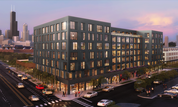 A rendering of the project being built near Chicago's Medical District that is located in a Qualified Opportunity Zone.
