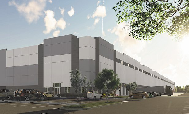 A rendering of the 340,000-square-foot warehouse/distribution facility at 10 Princess Road in Lawrence Township, NJ.
