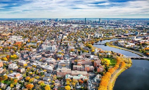 An aerial of Cambridge, MA.
