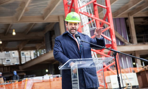 Bill Glazer, CEO of Keystone Property Group at the topping out ceremony.