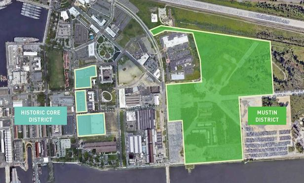 A map of the 109 acres of the Navy Yard's historic core and Mustin districts.