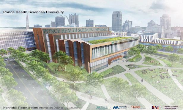 A rendering of the new Ponce Health Sciences University medical school in North St. Louis, MO.