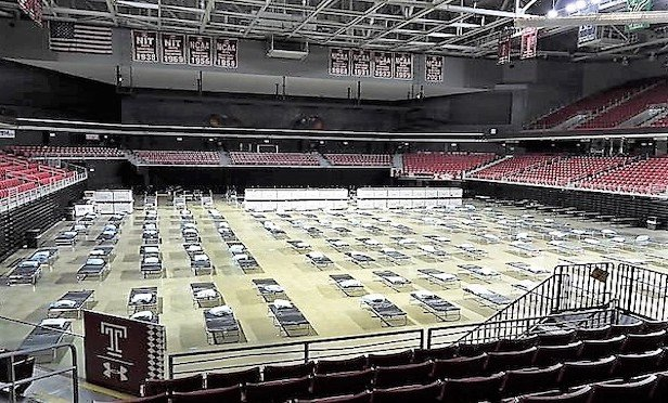 Temple University's Liacouras Center in the throes of being converted for health care use.