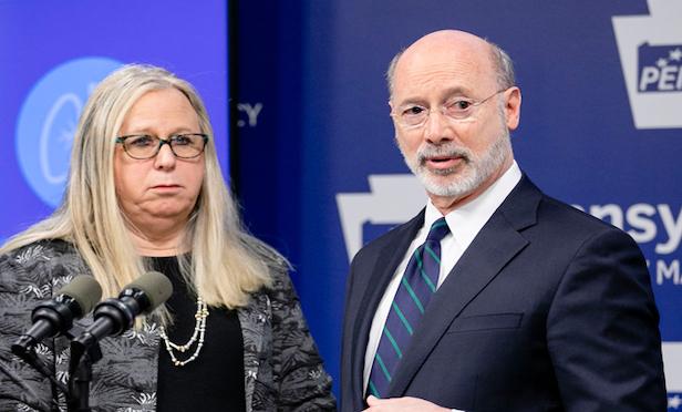 From left, Pennsylvania Secretary of Health Dr. Rachel Levine and Gov. Tom Wolf