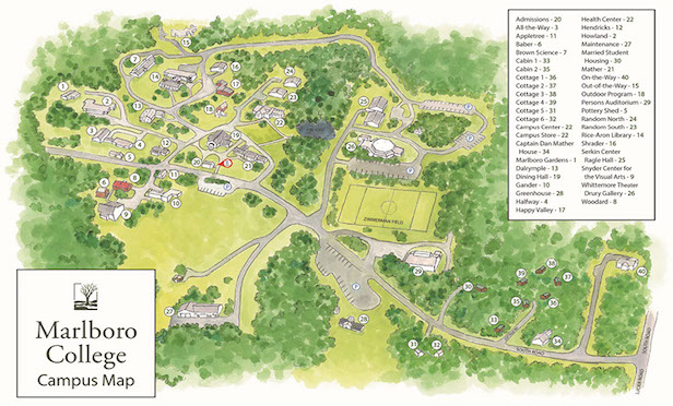 The Marlboro College campus features 58 buildings on 533 acres in Southern Vermont.