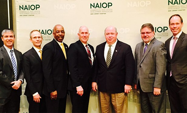 NAIOP NJ Panelists, from left: Dave Gibbons, Mike McGuinness, Mayor Eric Jackson, Mayor John Labrosse, Mayor James Barberio, Mayor Christopher Vergano, Clark Machemer
