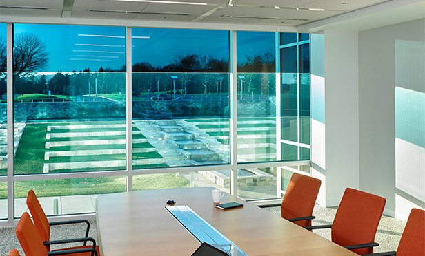 Electrochromic SageGlass controls the daylight entering a modern office, one of the key environmental factors highlighted in a workplace survey by Saint-Gobain, manufacturer of the glass