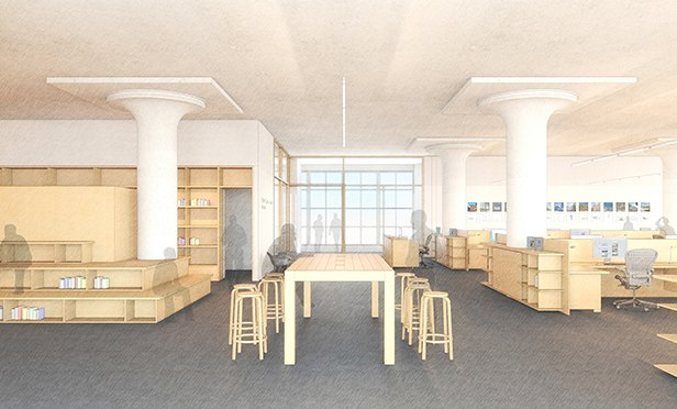 Rendering of workspace at Bohlin Cywinsky Jackson's new offices, 34 South 11th Street, Philadelphia, PA