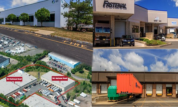 Properties in the portfolio auctioned by Cushman & Wakefield, clockwise from upper left: 191 Talmadge Road, Edison, NJ; 1026 W. Elizabeth Avenue, Linden, NJ; 158 Paris Street, Newark, NJ; and 183 and 185 National Road, Edison, NJ