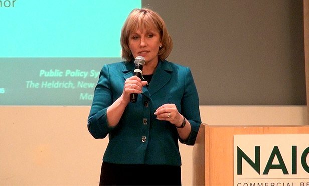 NJ Lt. Gov. Kim Guadagno was one of five gubernatorial candidates who presented their views at the NAIOP-NJ Chapter meeting in New Brunswick Mar. 3. (Steve Lubetkin photo/StateBroadcastNews.com. Used by permission.)