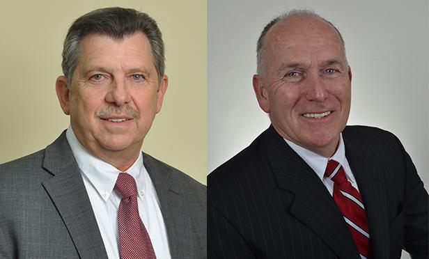 Jerry Lombardo, left, chairman of the Main Street Business Alliance, and Hackensack Mayor John P. Labrosse Jr.