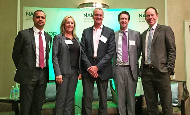 Panelists at the NAIOP New Jersey meeting on the future of retail were, from left: Herbert Eilberg, Urban Edge Properties; Nancy Erickson, Colliers International; Mark Pottschmidt, Stanbery Development; Brian Whitmer, Cushman & Wakefield,; and moderator Clark Machemer, Rockefeller Group.