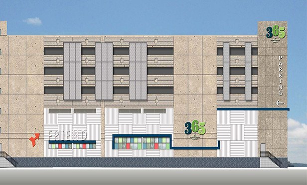 Portion of the rendering of Whole Foods 365, Lincoln Harbor, Weehawken, NJ