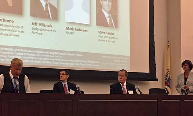 At the NAIOP NJ Regulatory Panel, participants included (from left): Mark Pedersen (NJ DEP), Steve Senior (Riker Danzig Scherer Hyland & Perretti), Jeff Milanaik (Bridge Development Group), Irene Kropp (Langan Engineering & Environmental Services)