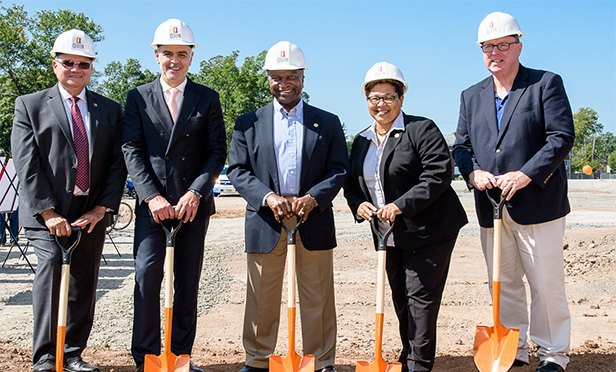Developer JMF Properties and local officials break ground Quin Sleepy Hollow in Plainfield, NJ. From left: Angel G. Estrada, Union County Freeholder; Joseph M. Forgione, Founder and President of JMF Properties; Adrian O. Mapp, Mayor of the City of Plainfield; Rebecca Williams, Council President of the City of Plainfield; and Joseph Cryan, Sheriff of Union County.