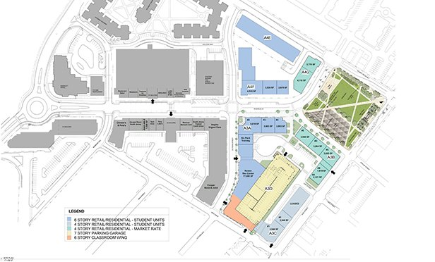 Site plan showing the newest phase of the Rowan Boulevard development, Glassboro, NJ