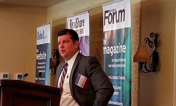 Timothy Lizura, president and chief operating officer of the New Jersey Economic Development Authority, speaking at RealShare New Jersey 2017 yesterday in Florham Park, NJ. (Steve Lubetkin photo/StateBroadcastNews.com)