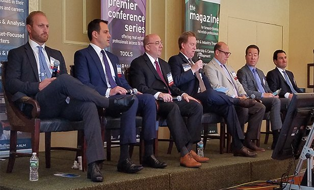 Multifamily Panel at RealShare NJ 2017. From left: Alex Cocoziello, Principal & Vice President of Investment , Advance Realty; Brian Hosey, Vice President / Regional Manager New Jersey, Marcus & Millichap; Jose R. Cruz, Senior Managing Director, HFF; Mitchell S. Berkey, Co-Chair Real Estate Group, Chiesa Shahinian & Giantomasi; Russell Tepper, Senior Managing Director - New York, New Jersey & Connecticut, Mill Creek Residential; Brian Stolar, President and CEO, The Pinnacle Companies; and Christopher M. Bellapianta, Managing Principal, Camber Real Estate Partners. (Steve Lubetkin photo/StateBroadcastNews.com)