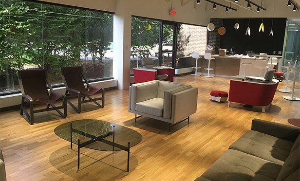 "Espresso bar and lounge at  Bergman/Time's ""Century Campus"" makeover in Parsippany, NJ"