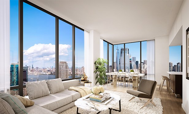 Living Room rendering, Vantage, 33 Park View Avenue, Jersey City, NJ