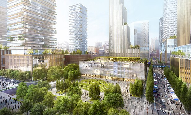 Rendering of Drexel Square portion of Schuylkill Yards redevelopment, Philadelphia, PA