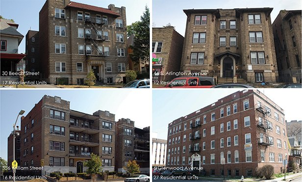 Four properties in the 72-unit East Orange, NJ, multifamily portfolio acquired by MCP Real Estate & Investment Management