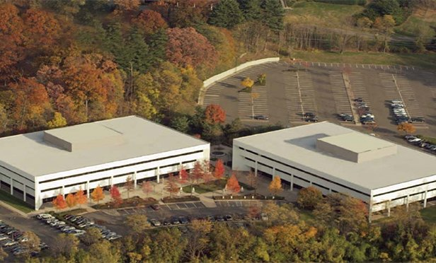 Aerial view of 60 Columbia Road and 100 Southgate Parkway, Morristown, NJ
