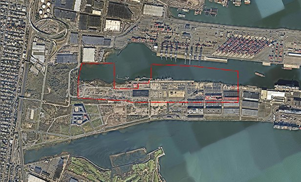 Aerial view of 90 acres Lincoln Equities acquired at Military Ocean Terminal at Bayonne, NJ